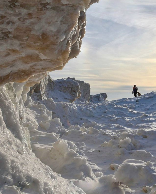 walking along lake michigan in winter