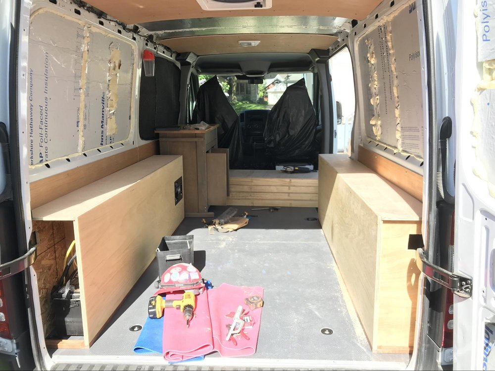 back of van converting to mobile home