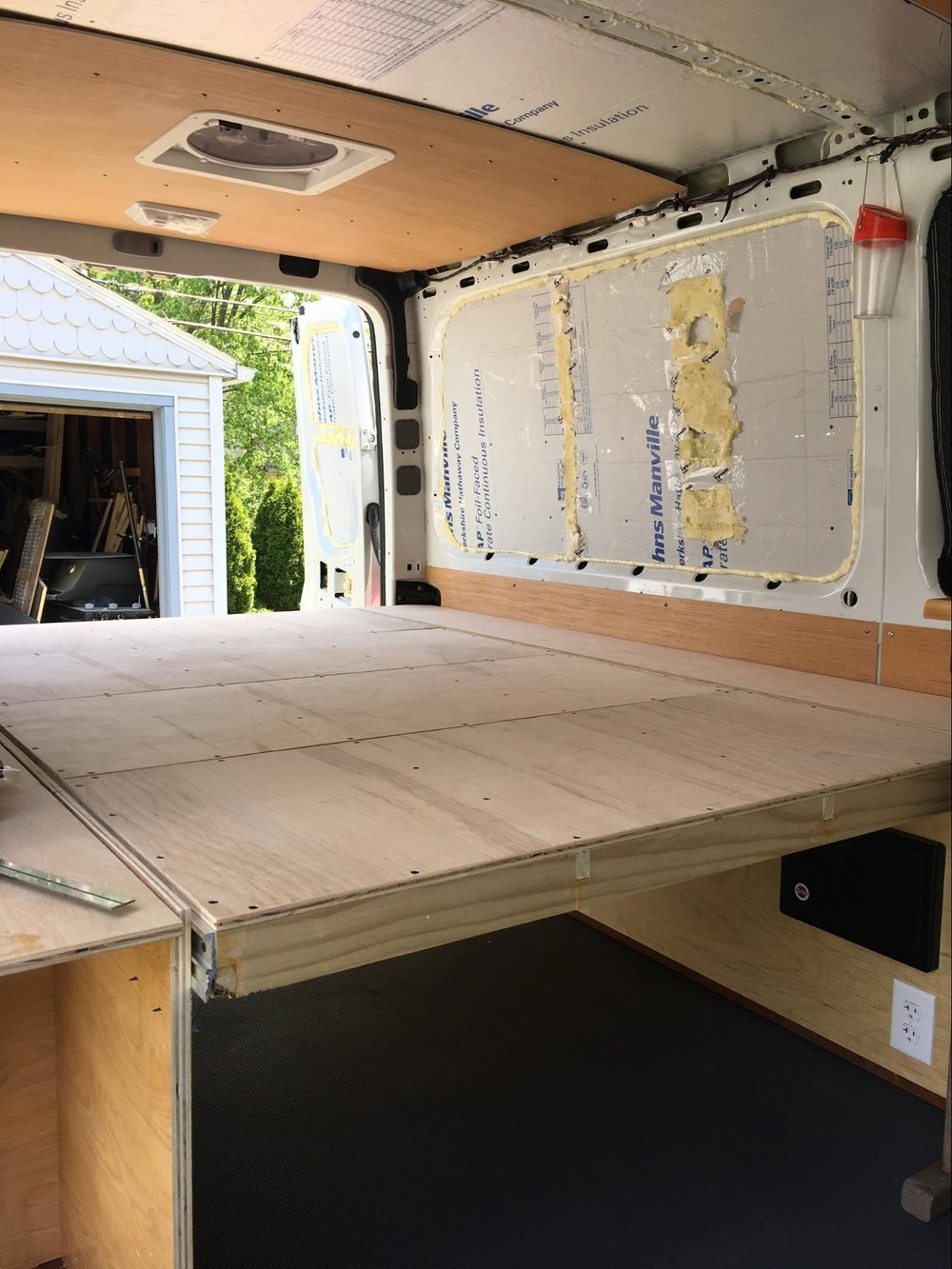 making the bed frame sprinter van