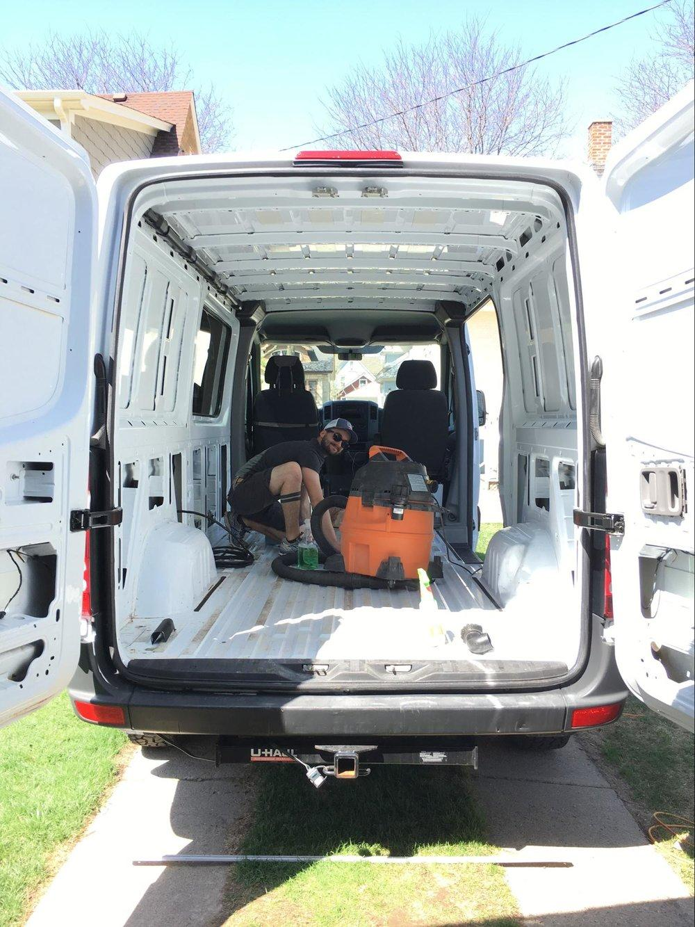 cleaning up sprinter van for conversion