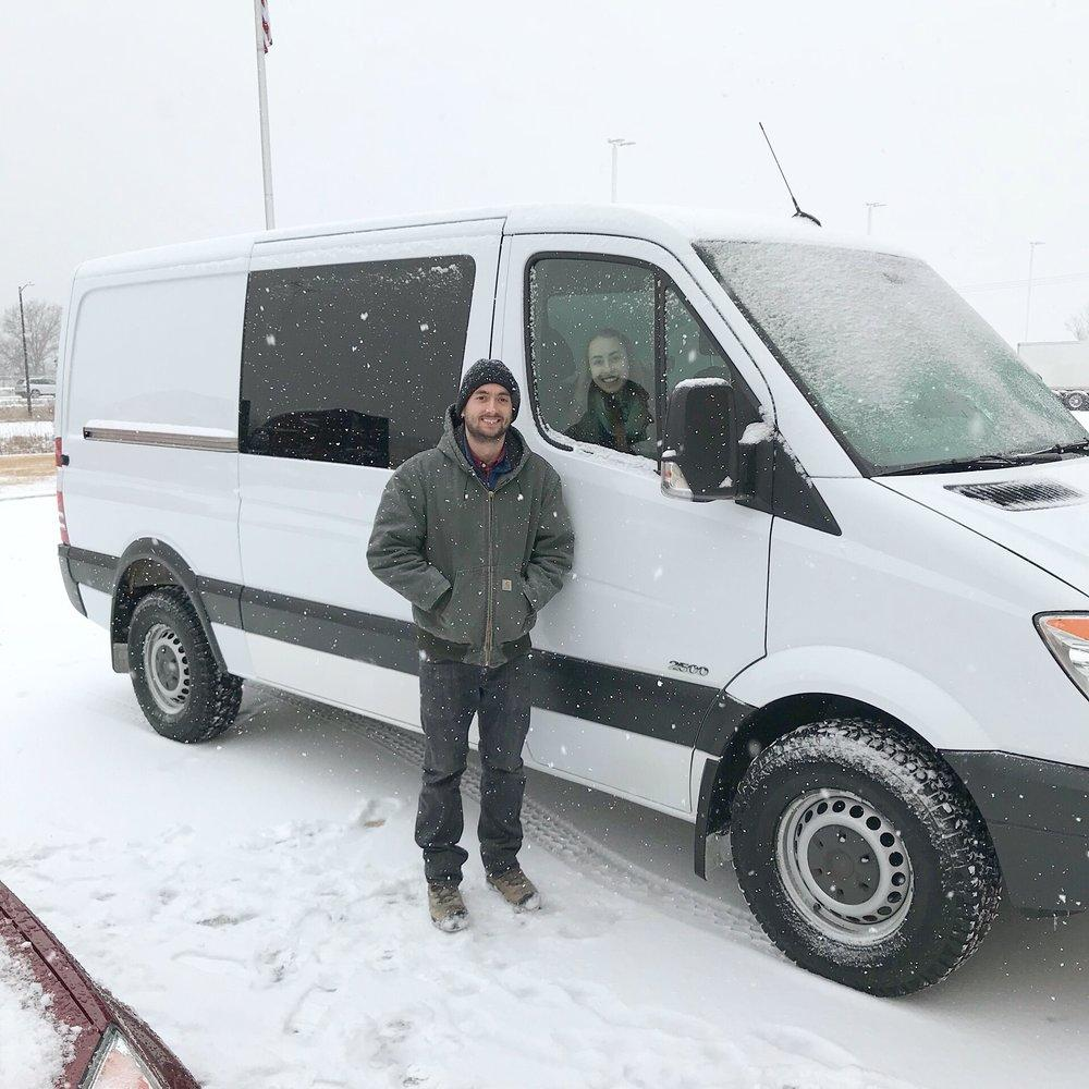 dodge sprinter van in the snow
