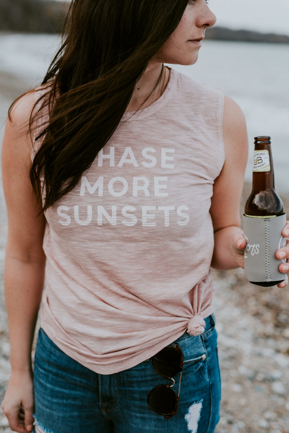 chase more sunsets pink blush tank top and beverage koozie