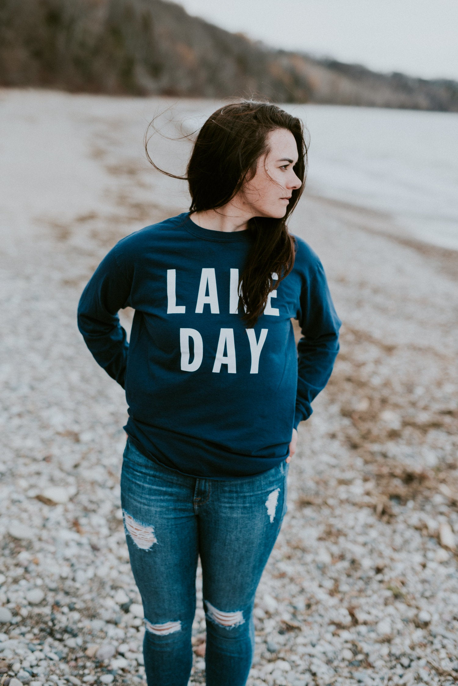 lake effect co lake day blue navy long sleeve tee shirt