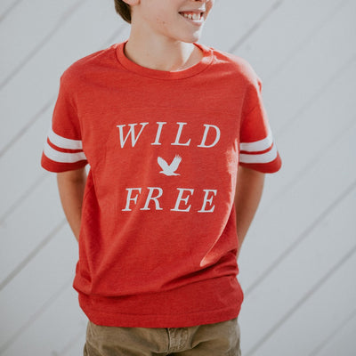 wild and free youth football tee shirt