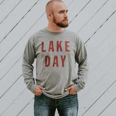 LAKE DAY Gray & Cranberry Long Sleeve Shirt