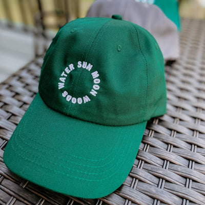 SUN MOON WOODS WATER Ball Cap (Dark Green)