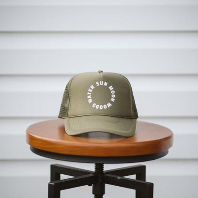 sun moon woods water trucker hat