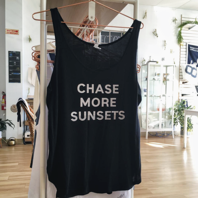 Chase More Sunsets Flowy Tank