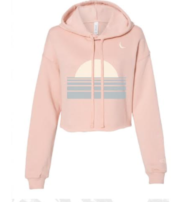 Sunset + Crescent Blush Cropped Hoodie