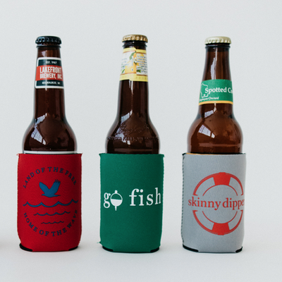 home of the wave, go fish, skinny dipper koozies