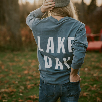 LAKE DAY Blue Long Sleeve Shirt