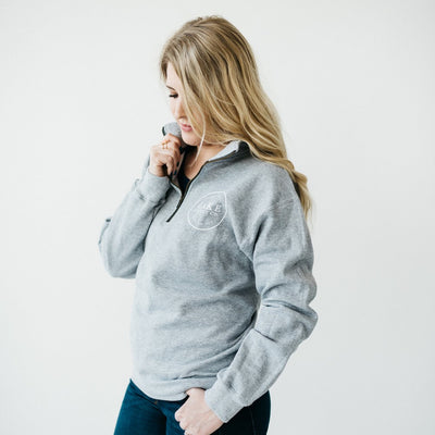 Quarter-Zip Sweatshirt (Red or Gray, Unisex)