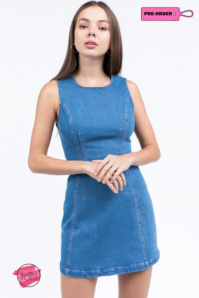BUTTON DENIM DRESS-ALL THINGS TOPS