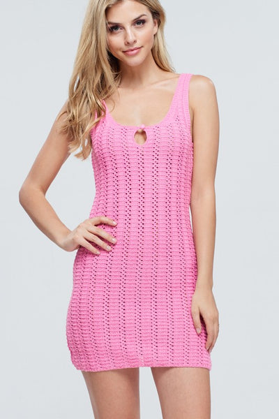 CROCHET ME PINK DRESS-ALL THINGS TOPS