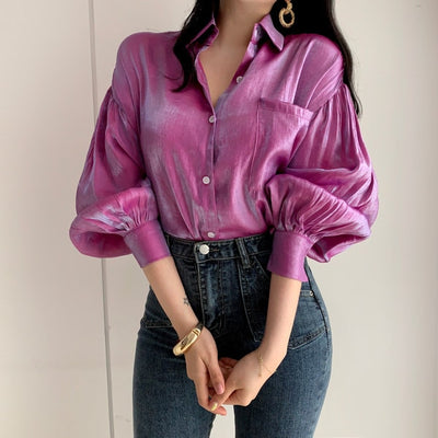 All Things Top™ Glossy Blouses Lantern Sleeve Shirts