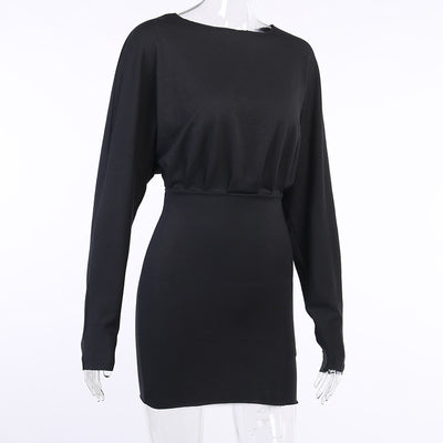 All Things Top™ Hollow Out Drawstring Long Sleeve Dress