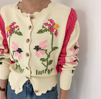 All Things Top™ Knitted Cardigan Hand-Embroideried Long Sleeve