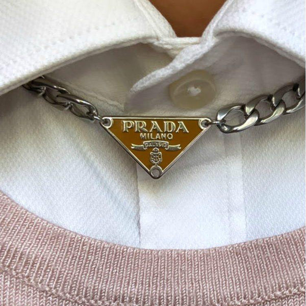 Repurposed Authentic Prada Silver tag - Necklace - Boutique SecondLife
