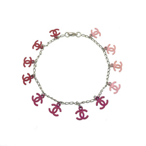 Chanel CC pendant Re-purposed pink Necklace