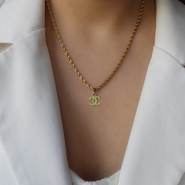 Authentic Chanel CC Re-worked Light Lime Pendant Necklace - Boutique SecondLife