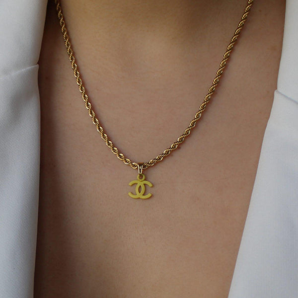 Authentic Chanel CC Re-worked butter pendant Necklace - Boutique SecondLife