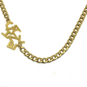 Repurposed Authentic Chanel Lettering Pendant- Asymmetrical Necklace