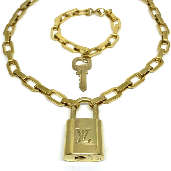 Louis Vuitton Set Lock Geometric Chain Necklace and Key Bracelet
