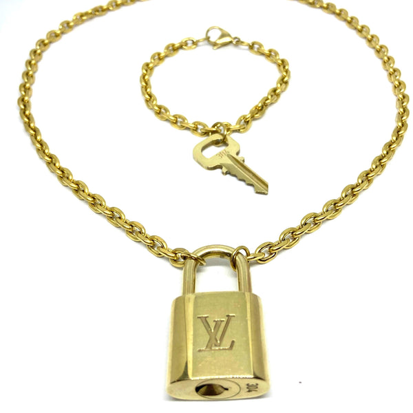 Louis Vuitton Set Padlock Necklace with Key Bracelet
