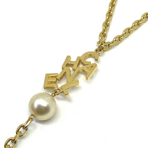 Repurposed Authentic Chanel Lettering Pendant- Y Necklace
