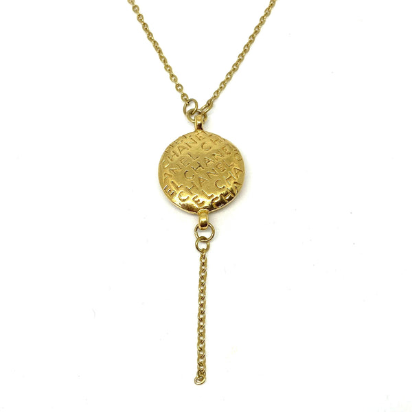 Repurposed Authentic Chanel Round Pendant- Y Necklace