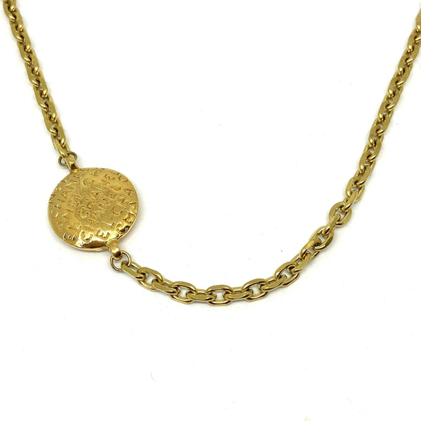 Repurposed Round Authentic Chanel Lettering Pendant- Asymmetrical Necklace