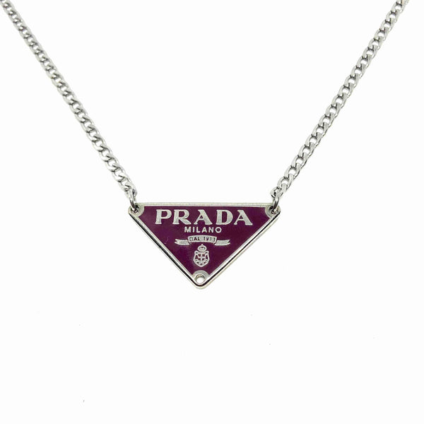 Repurposed Authentic Silver Prada Vermillon plaque tag - Necklace - Boutique SecondLife