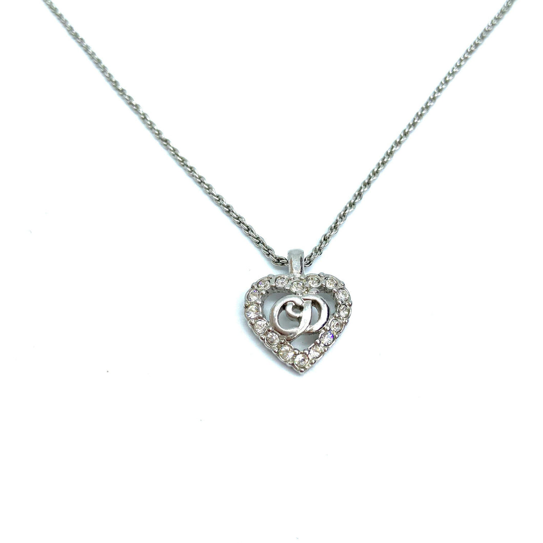 Authentic Christian Dior Heart Silver Vintage Necklace