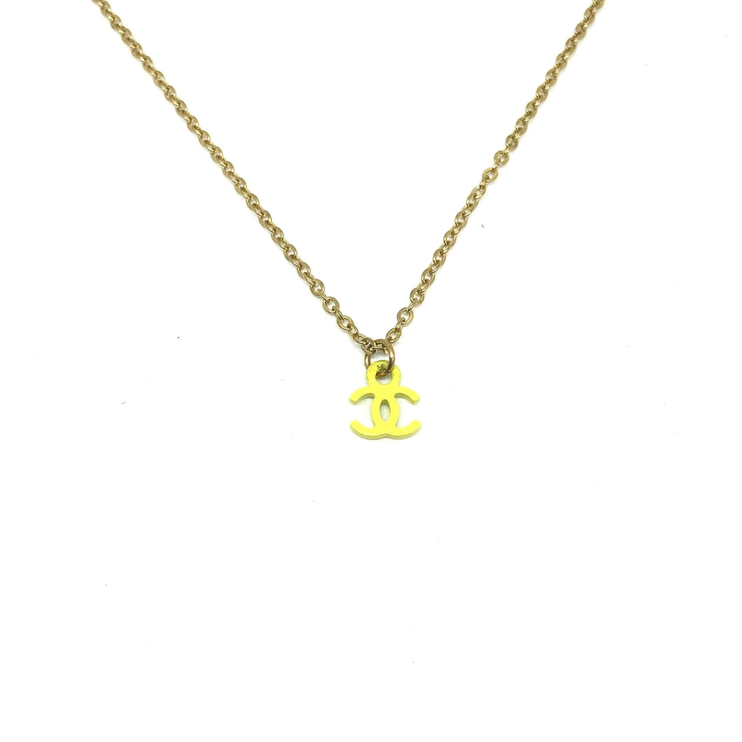 Authentic Neon Yellow Chanel CC pendant Re-purposed Necklace