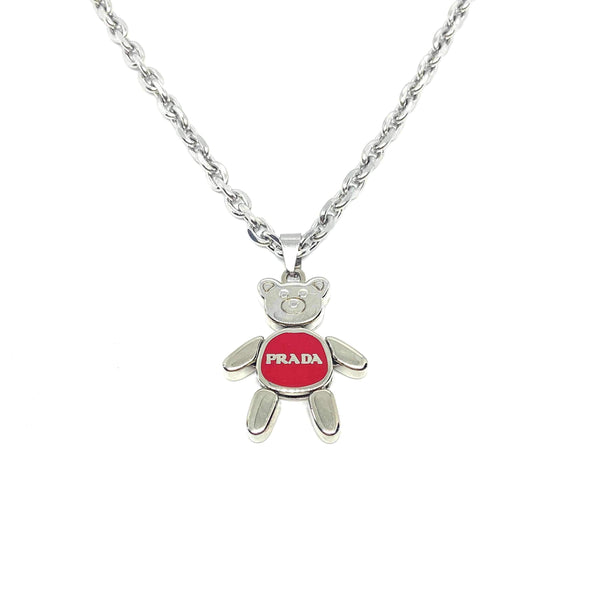 Small Authentic Red Prada Bear Reworked Necklace - Boutique SecondLife