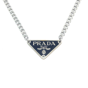 Repurposed Authentic Prada Black tag - Necklace - Boutique SecondLife