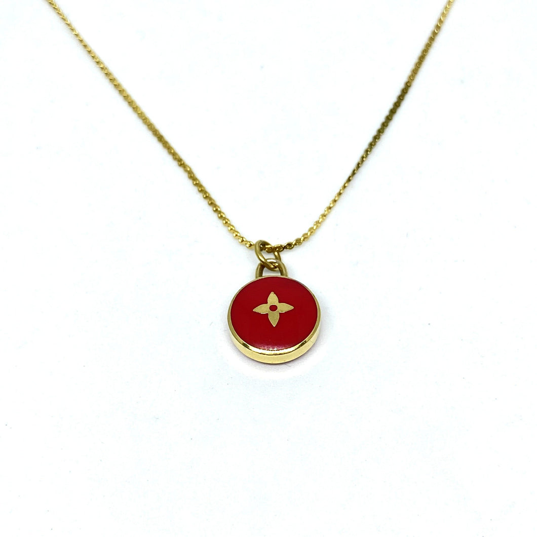 Red Flower Reworked Pastilles Pendant