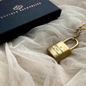 Authentic Louis Vuitton Padlock with Rope Chain Necklace - Boutique SecondLife