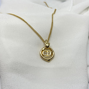 Authentic Christian Dior Pendant- Delicate CD Necklace