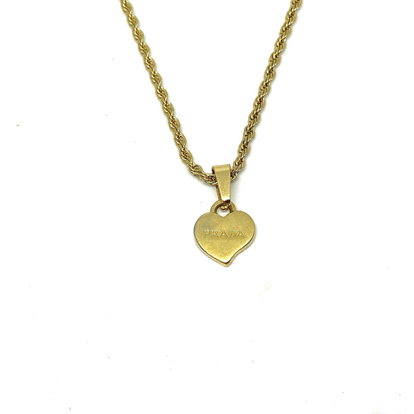 Repurposed Authentic Prada Mini Heart tag - Necklace
