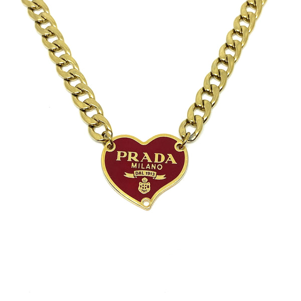 Repurposed Authentic Prada Red Heart tag - Necklace - Boutique SecondLife