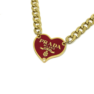 Repurposed Authentic Prada Red Heart tag - Necklace