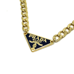 Repurposed Authentic Prada Black tag - Necklace
