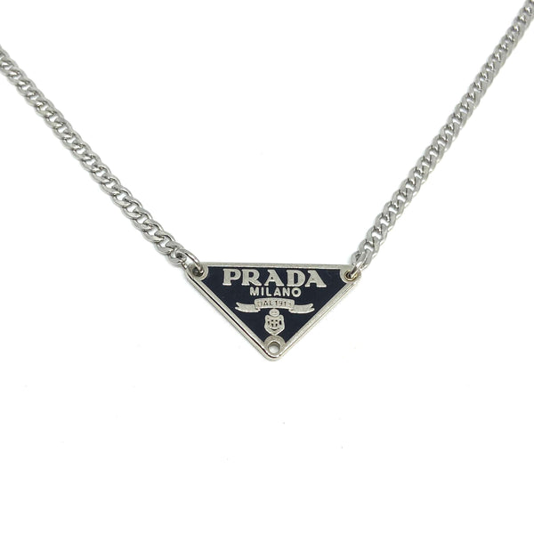 Gift Edition - Repurposed Authentic Silver Prada Black tag - Necklace