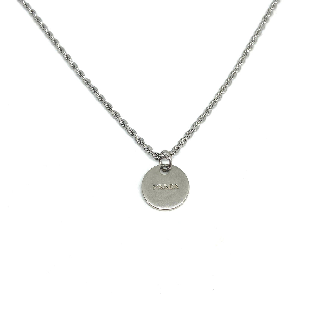 Repurposed Authentic Silver Prada Mini circle tag - Necklace