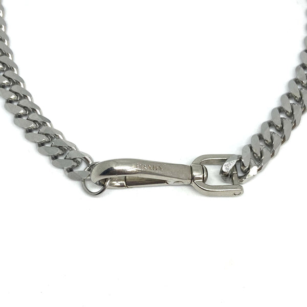 Repurposed Silver Authentic Prada Clasp- Necklace
