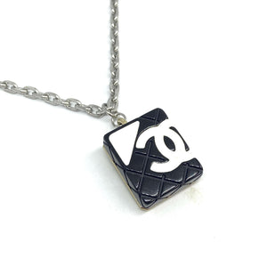 Authentic Square Chanel Pendant Repurposed Necklace