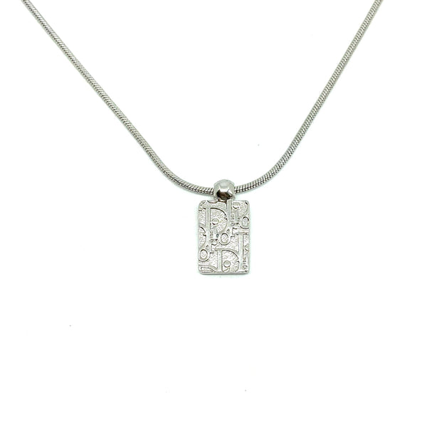 Authentic Mini Silver Trotter Dior Pendant- Necklace