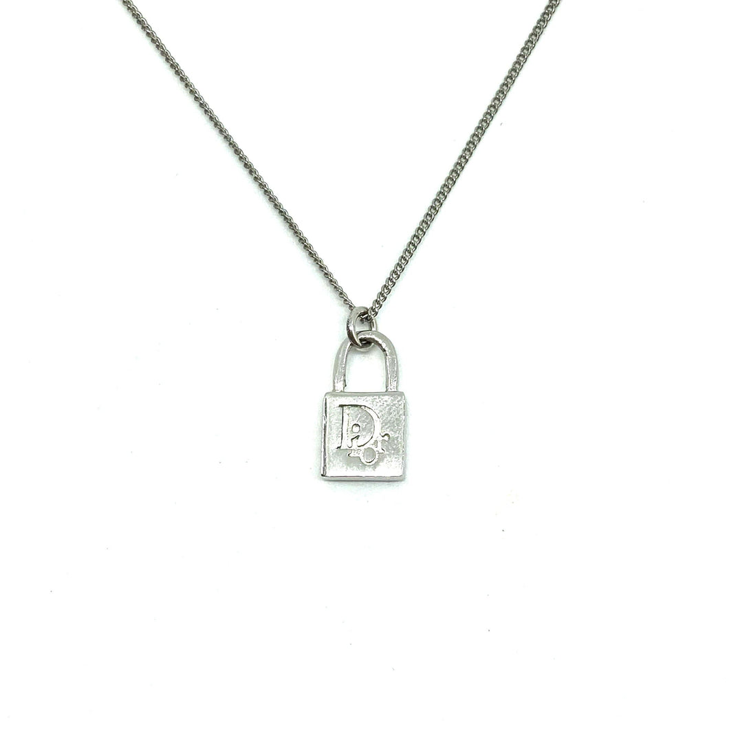 Authentic Mini Dior Padlock Pendant- Necklace