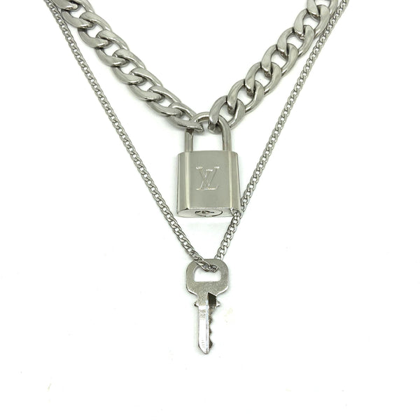 Authentic Louis Vuitton Necklace Silver Padlock
